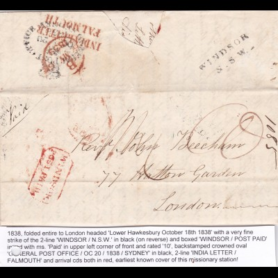 1838: Windsor N.S.W, Post paid, India Letter Falsmouth to London