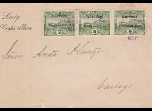 1912: letter Costa Rica to cartag: turned overprint !!!!