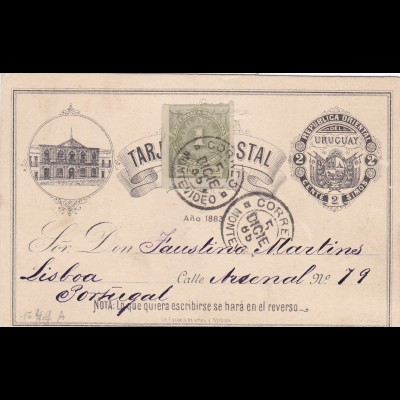 1885: Uruguay post card to Portugal