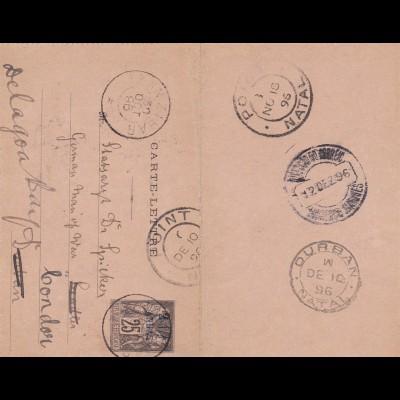 1896: France/Anna-Zanzibar, Durban, Port Natal to London