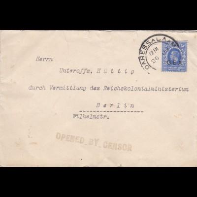East Africa and Uganda/Daressalaam G.E.A. to Berlin: Zensor