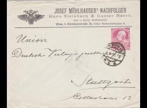 1910: Brief von Wien nach Stuttgart, Rückseitig Schaukelpferd, Tennisschläger