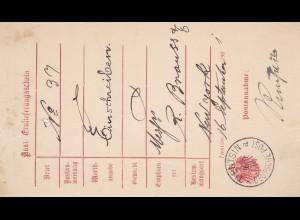 1901: Tientsin-Deutsche Post-Einlieferungsschein Einschreiben