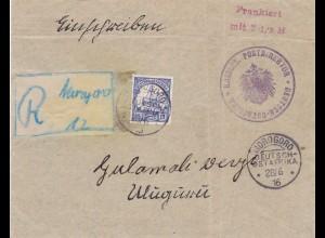 1916: DOA: Einschreiben Morogoro nach Uluguru, BPP Attest