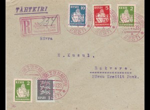 1933: Eesti - Registered to Rakvere