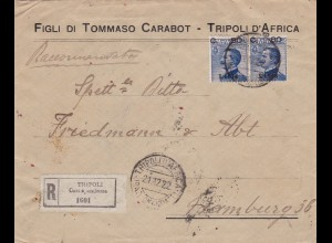 1922: Libya: Tripoli to Hamburg: Censorship/Geöffnet