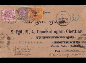 1933: France-Indochina: letter to Saigon via Singapore