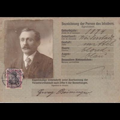 Postausweiskarte: Darmstadt 1916 - doppelt verwendet