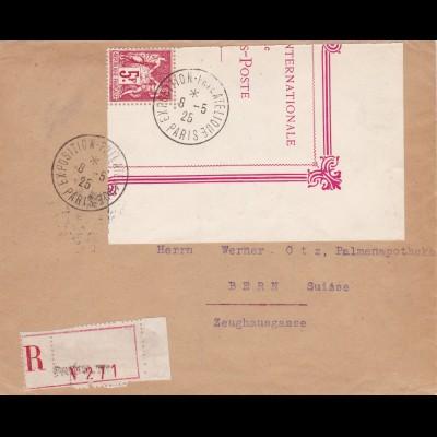 1925: Exposition Paris to Switzerland- registered