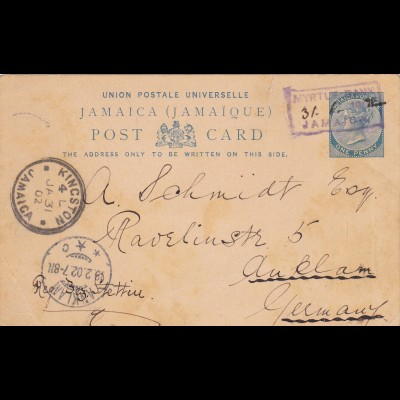 1902: Jamaica to Germany - post card