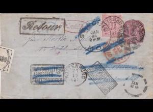 1876: Württemberg Rottenburg nach USA und zurück, amtlich geöffnet