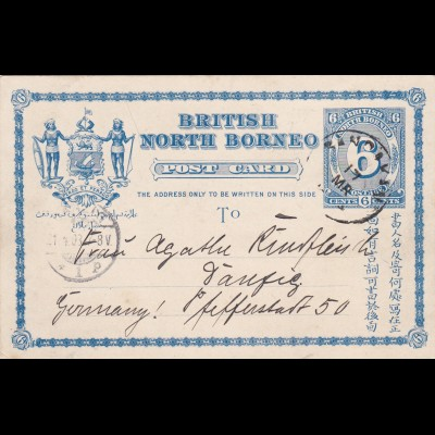 1903: British North Borneo- post card to Danzig/Germany