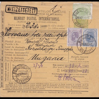 1907: parcel card Romaina/Bucaresti to Hungary