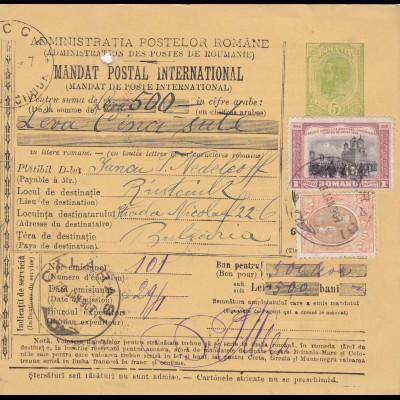 1907: parcel card Romaina/Bucaresti to Bulgaria