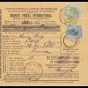 1907 parcel card Romaina Bucaresti to France