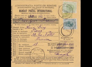 1907 parcel card Romaina Bucaresti to France
