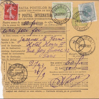 Parcel card Romaina/Bucaresti to France/Paris 1907