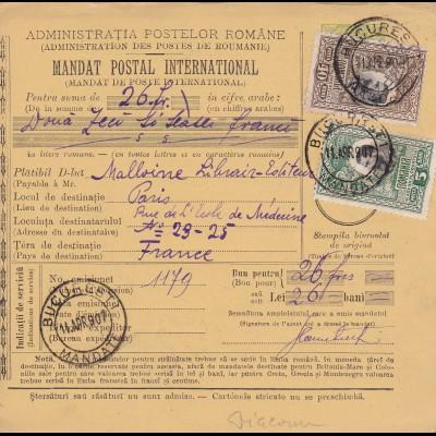 parcel card Romaina 1907 - Bucaresti to France