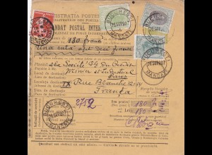 parcel card Romaina/Bucaresti 1907 to France