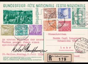 Schweiz: FDC 270/276 von 1934, Einschreiben nach Lahr