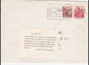 Schweiz: Bedarfsbrief ab Chr 1944 nach Brasilien, Zurück Postverkehr eingestellt