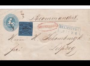 Braunschweig MiNr. U2 Ganzsache mit MiNr. 7, 1855 Helmstedt nach Leipzig