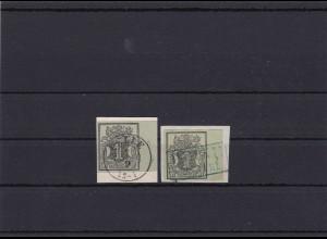 Hannover: 2x MiNr. 2a 1851, gestempelt Celle und Peine
