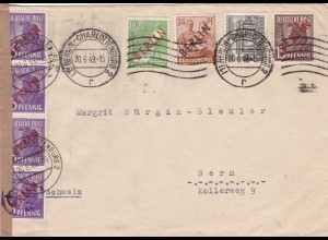 Berlin: MiNr. 9,22, 24,25,42 Bedarfsbrief in die Schweiz 1949