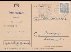 BRD: MiNr. 182xY: EF portorichtig auf Benachrichtigungskarte Deutsche Bahn 1961