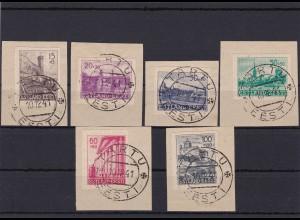 Deutsche Besetzung II. WK: Estland Michel Nr. 4/9U, gestempelt, Briefstücke
