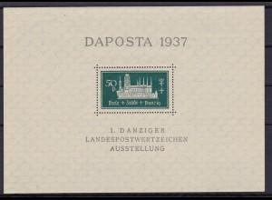 Danzig MiNr. Block 1bIII, Abart III, postfrisch, Luxus