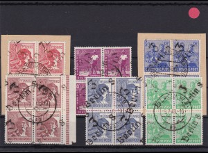 SBZ: Handstempelaufdruckmarken ex 166I/181I, Viererblöcke, geprüft