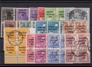 SBZ: MiNr. 182/197, gestempelt, Viererblöcke, 195a und 189d geprüft