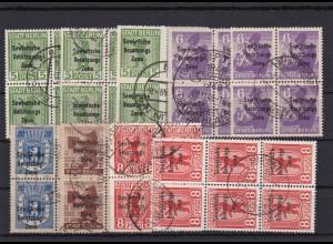 SBZ: MiNr. 200/205, inkl. 200A/B, weitere Farben, gestempelt, Viererblöcke