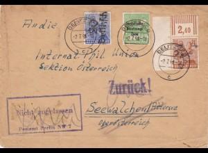 SBZ: MiNr.174 IV,178IV,185: Brief 1948, nicht zugelassen, frühe Verwendung