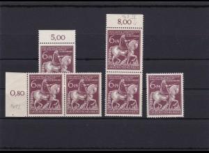 III. Reich: MiNr. 907 I, II, IV, VI, postfrisch