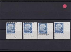 BRD: MiNr. 260FN 1,2,3,4 Heuss mit allen Formnummern, postfrisch