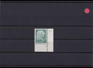 BRD: MiNr. 265wFN 4 Heuss, postfrisch, w-Papier