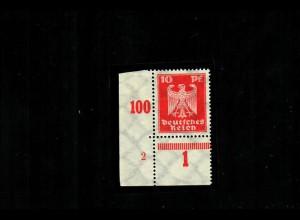 DR: MiNr. 357y, postfrisch, **, Eckrand mit PlattenNummer, Falz im Rand