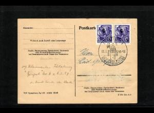 DDR: 1956 sog. Kleine Fälschung MiNr. 435 auf Postkarte