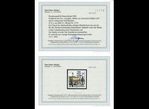 Bund: MiNr. 2379 aus MH 53, Druck auf Schichtseite, BPP Befund