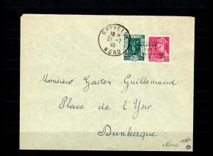 Dt. Besetzung Frankreich MiNr. 329, 388 auf Brief Ghyveide, Dunkerque BPP Attest