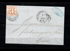 Hamburg: MiNr. 17 auf Brief, 1863 nach Gera