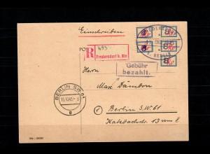 Fredersdorf bei Berlin MiNr. Sp 106, 102b auf Einschreiben Postkarte, BPP Attest