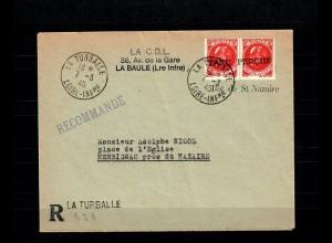 Dt. Besetzung Frankreich: La Turballe 7.3.45 Taxe Percue nach Herbignac, geprüft