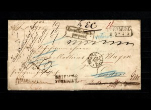 1863: Envelope stampless from Dortmund to London, redirected tax remarks, fine