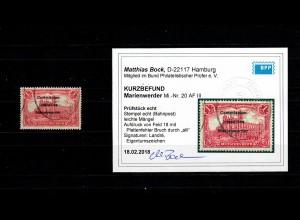 Marienwerder MiNr. 20 AF III, Bahnpoststempel, Plattenfehler Aufdruck BPP Befund