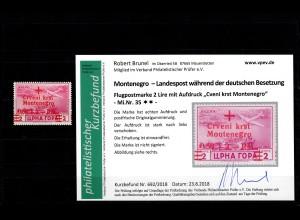 Montenegro: MiNr. 35, postfrisch, **, Rotes Kreuz, verschobener Aufdruck