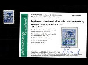 Montenegro: MiNr. 7, Abart, postfrisch, **