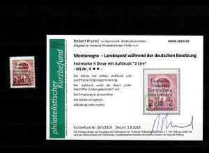 Montenegro: MiNr. 4, Abart Wertziffer gebrochen, postfrisch, **